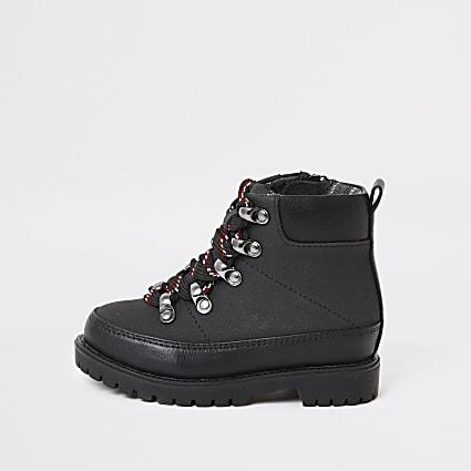 Mini boys black hiking boots