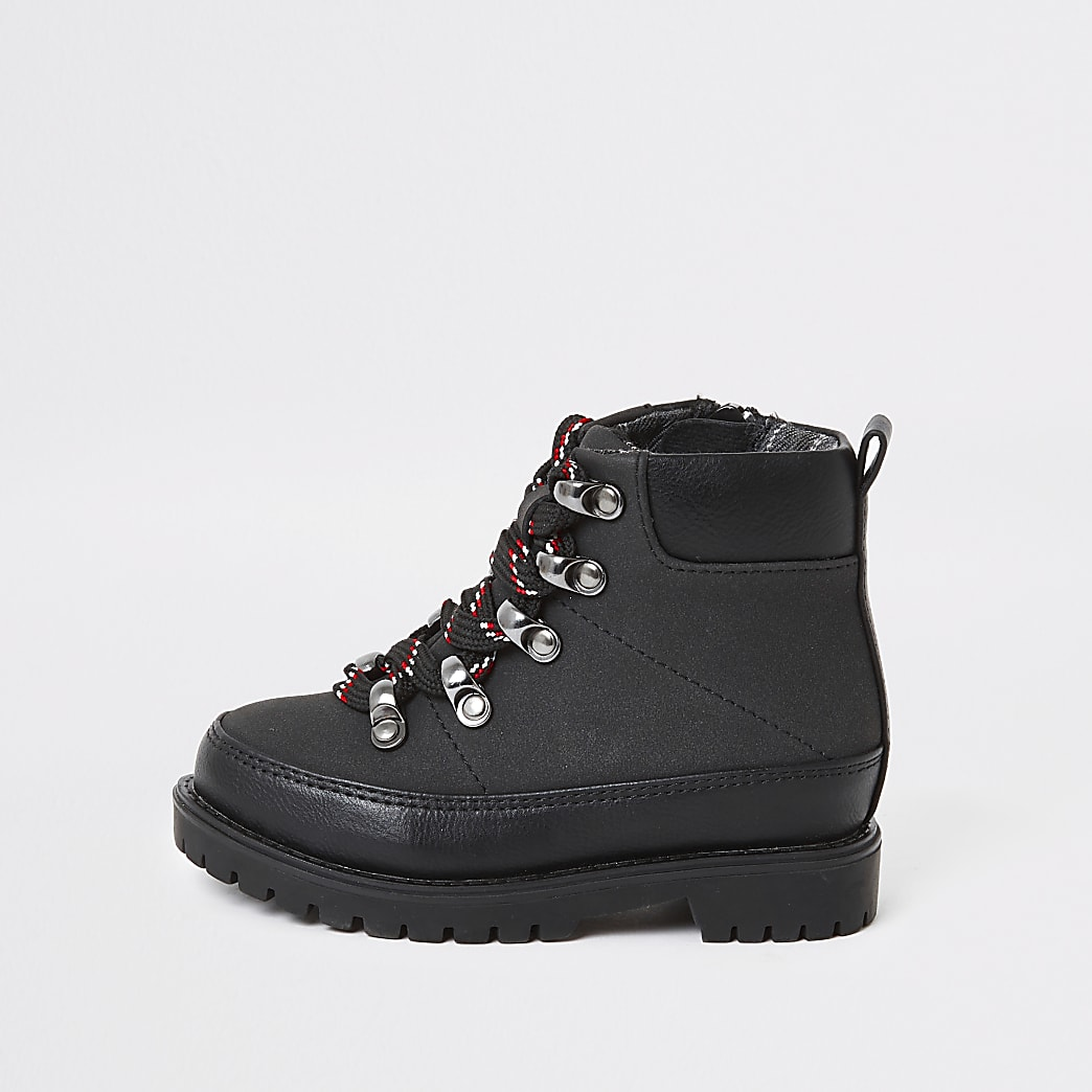 Mini boys black hiking boots
