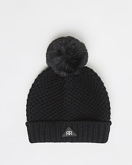 Mini boys black honeycomb knit beanie hat