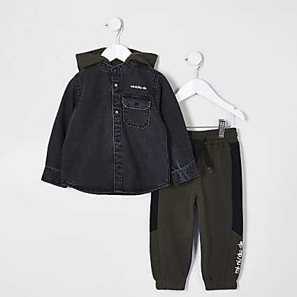 Mini Boys black hybrid denim shirt outfit