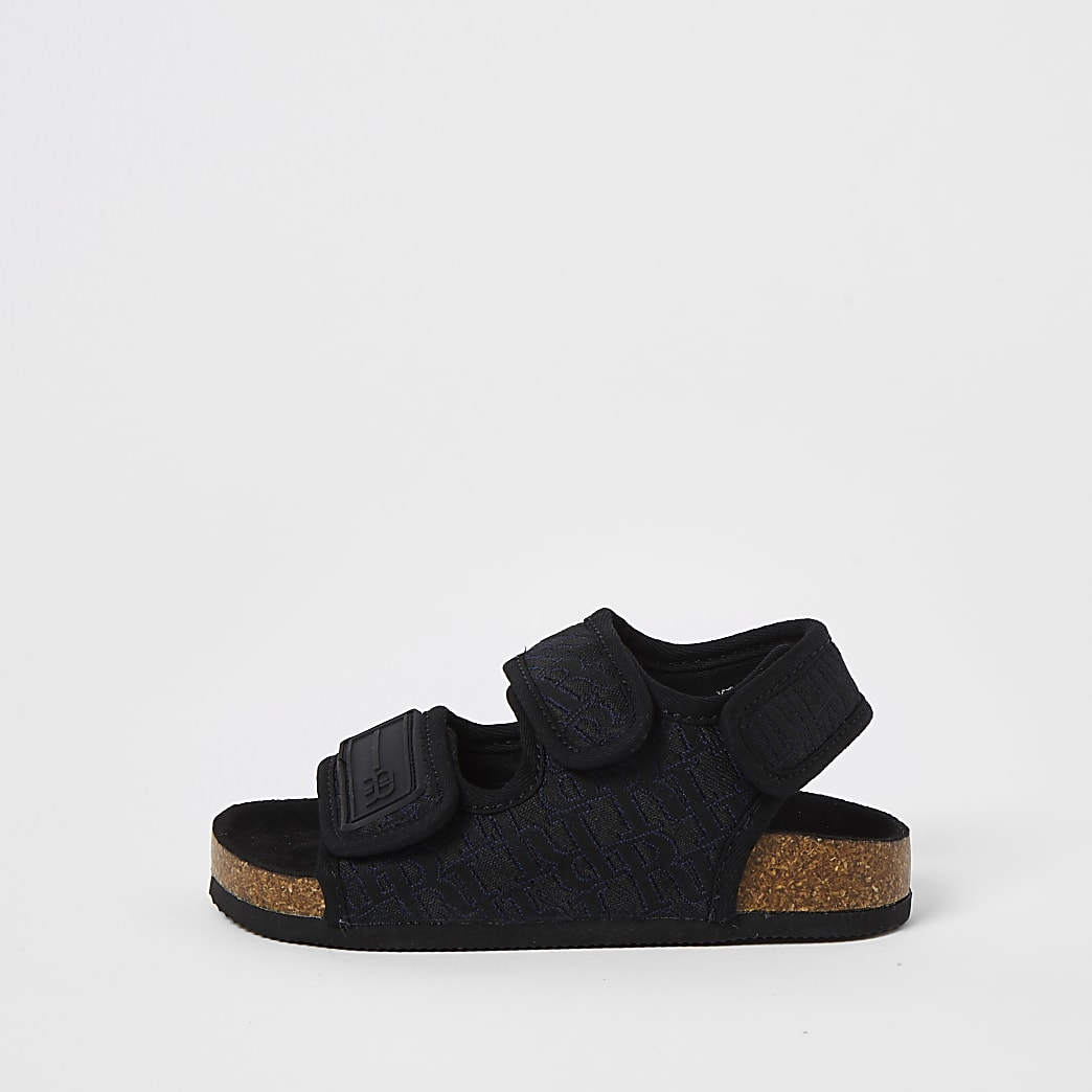 Mini boys black jacquard cork sole sandals