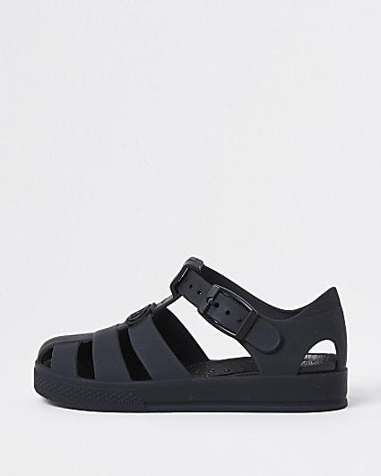 Mini boys black jelly caged sandals