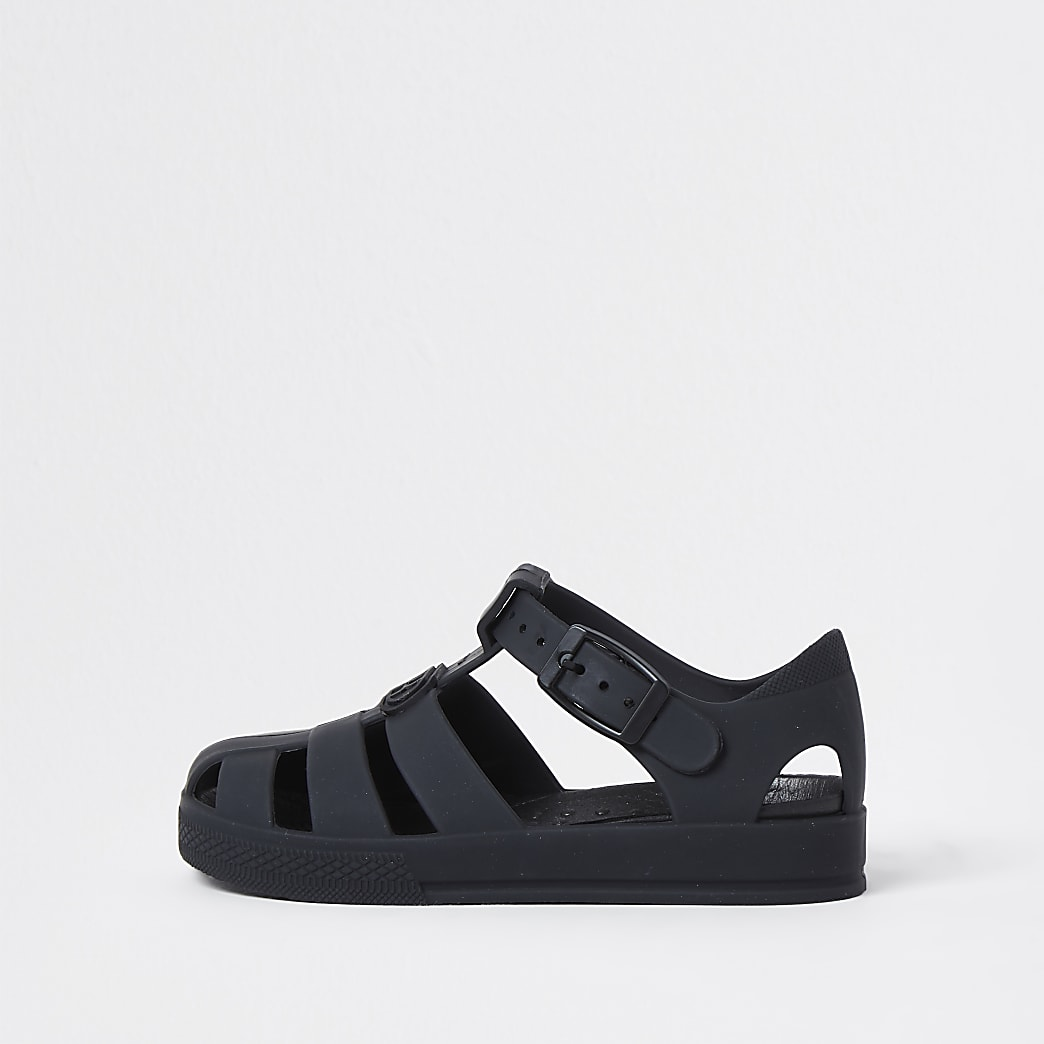 Mini boys black jelly caged sandals