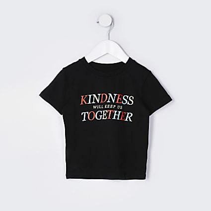 Mini boys black 'Kindness together' t-shirt