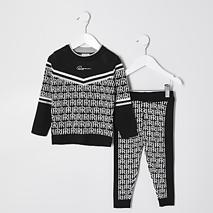 Mini boys black knitted monogram outfit