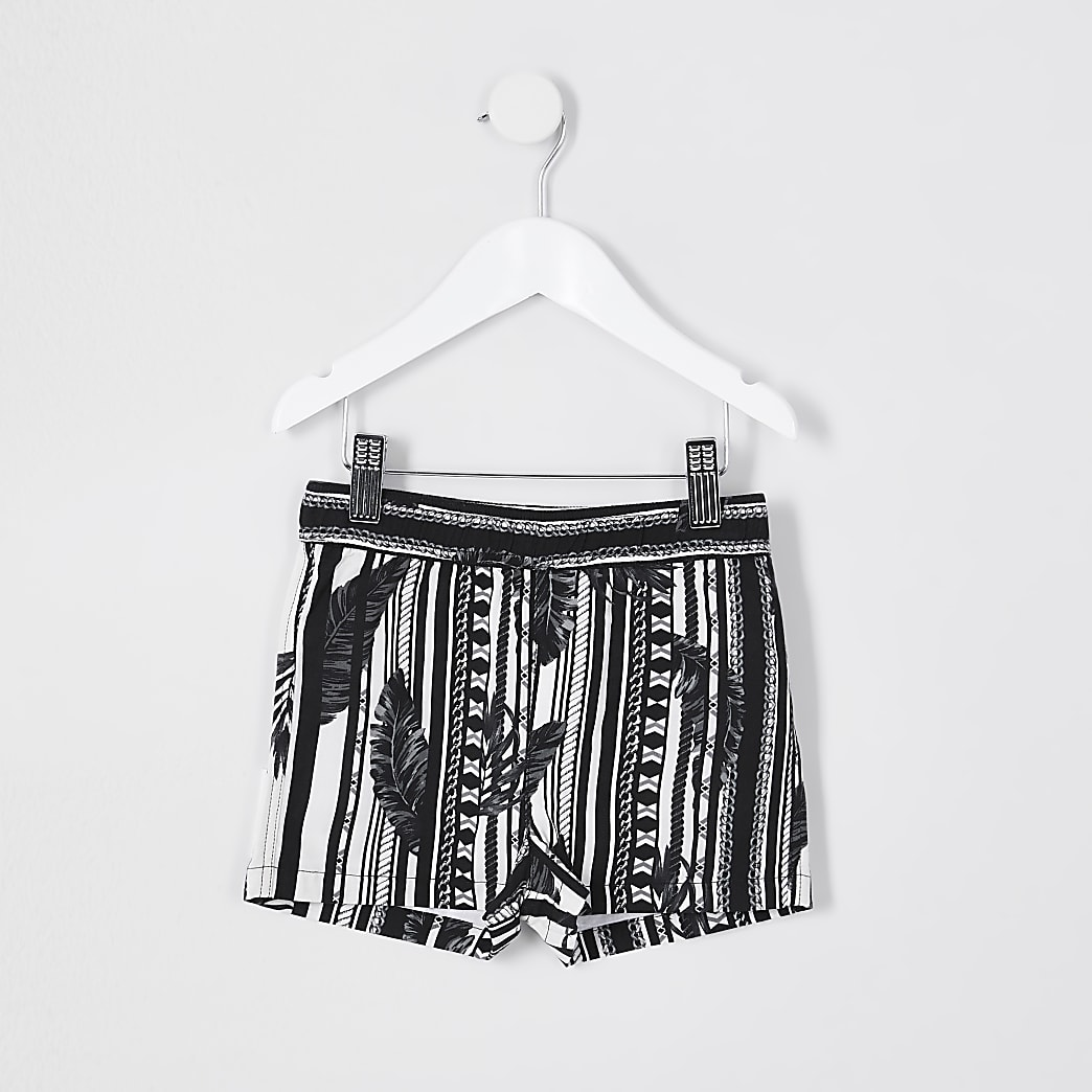 Mini boys black leaf print shorts