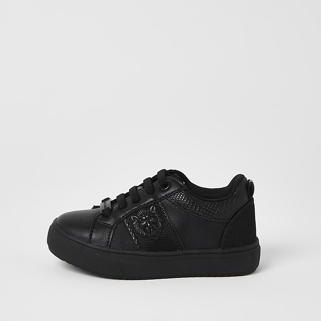 Mini boys black lion embossed trainers