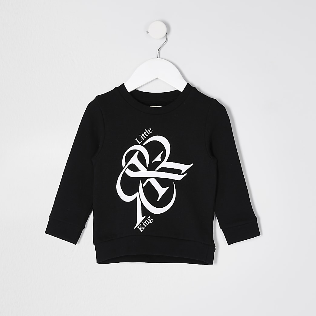 Mini boys black 'Little King' sweatshirt