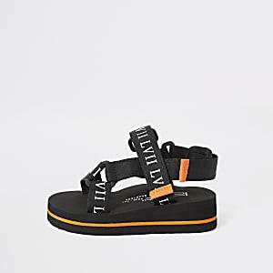 Mini - Zwarte sandalen met klittenband en 'LVII'-print voor jongens