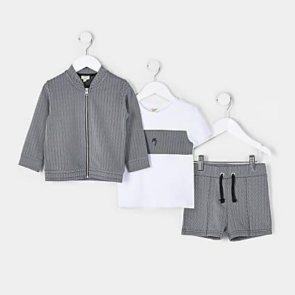 Mini boys black Maison Rivera 3 piece outfit