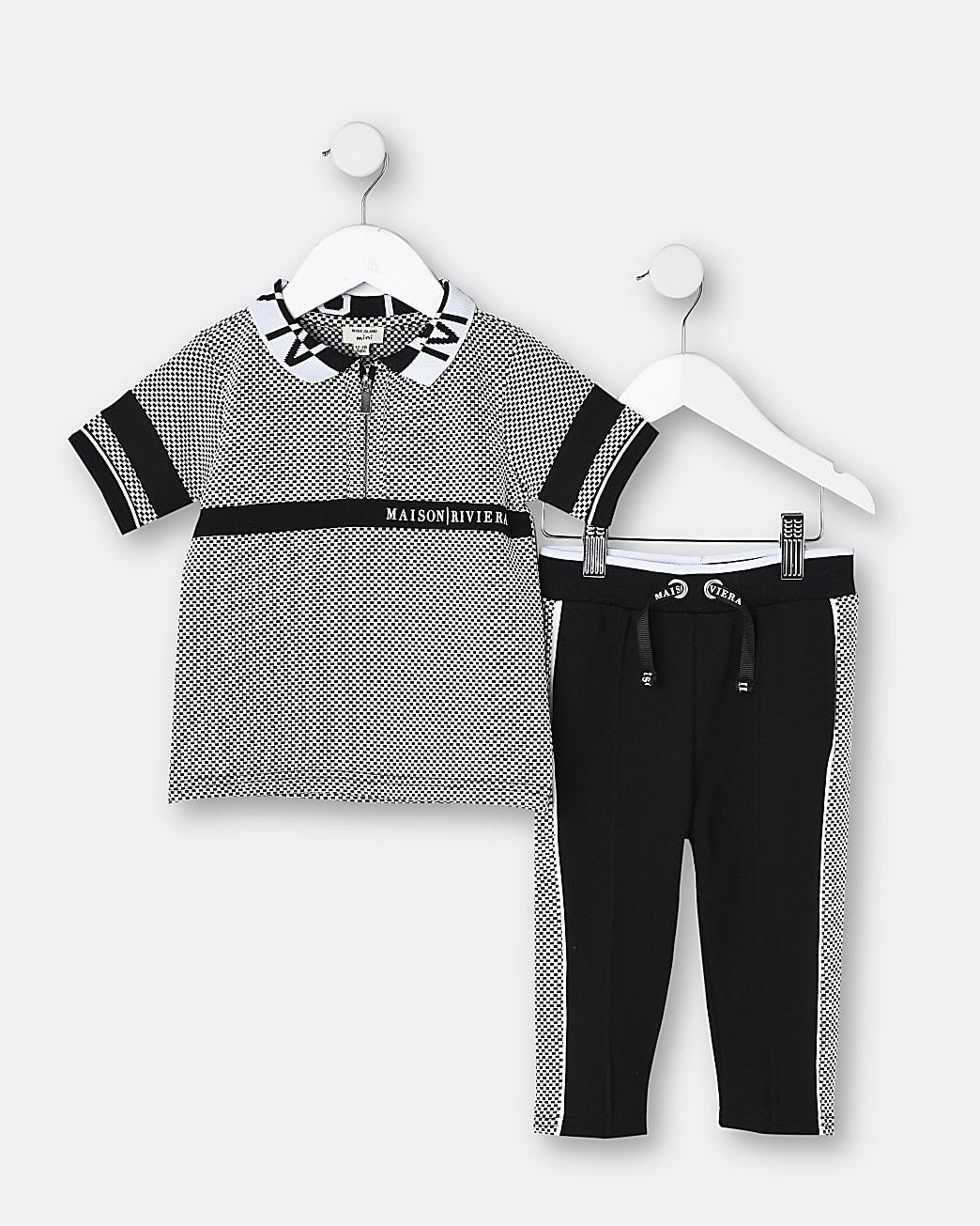 Mini boys black Maison Riviera polo shirt set