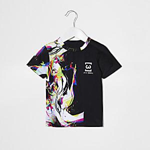 Mini boys black marble spliced T-shirt