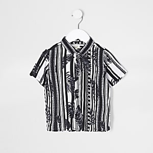Mini boys black mono leaf stripe shirt