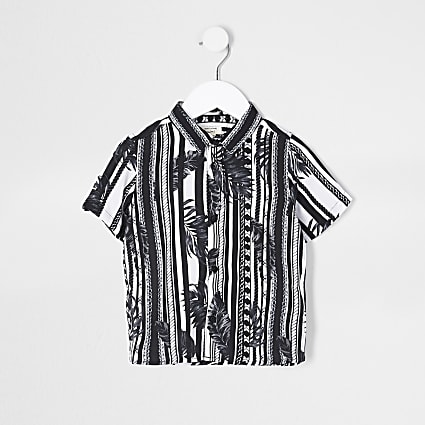Mini boys black mono leaf stripe shirt