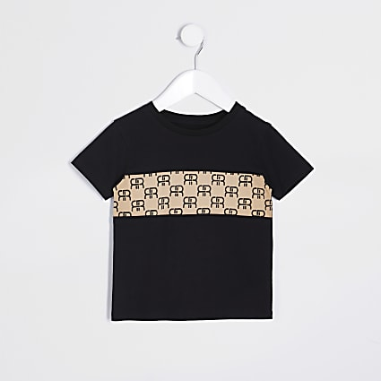 Mini boys black monogram block t-shirt