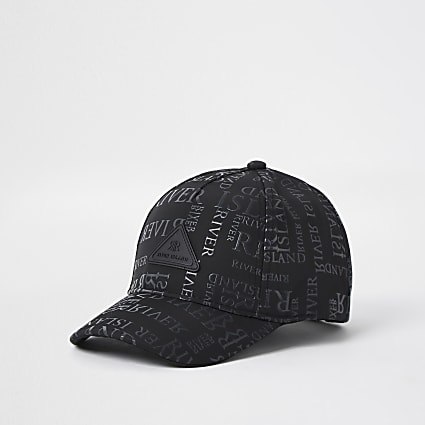 Mini boys black monogram cap