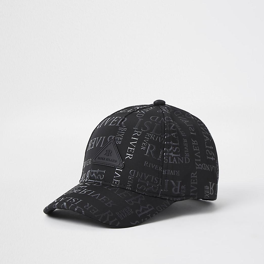 Mini boys black monogram cap