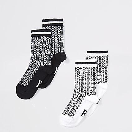 Mini boys black monogram socks 2 pack