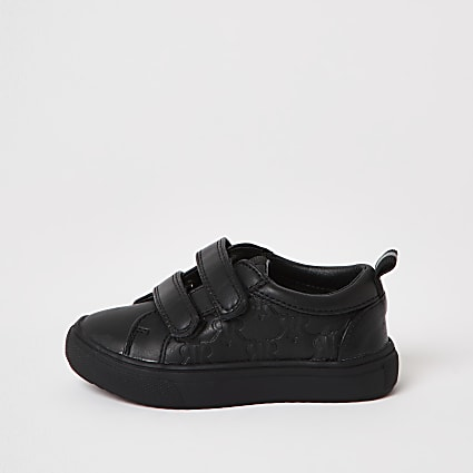Mini boys black monogram trainers