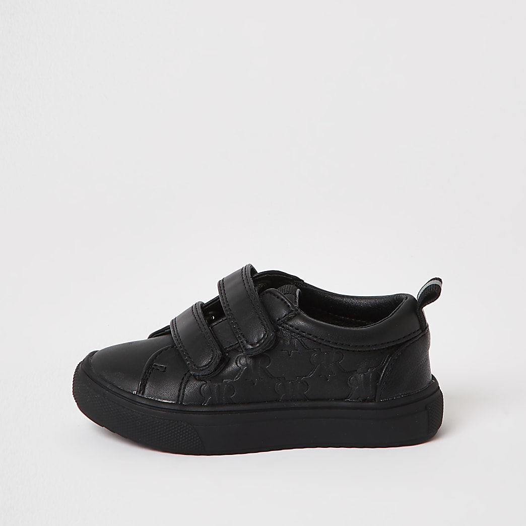 Mini boys black monogram trainers