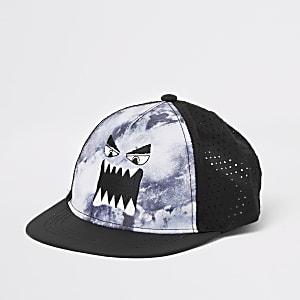 Mini – Schwarze, flache Kappe mit Monster-Motiv für Jungen
