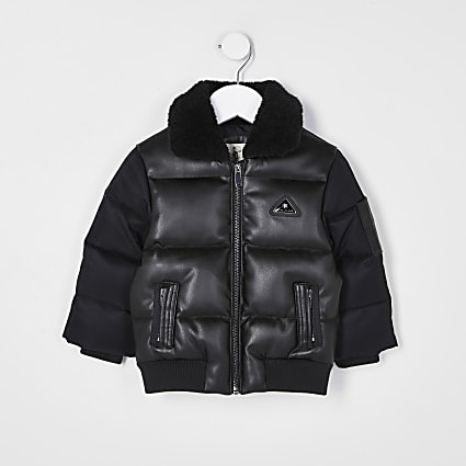 Mini boys black padded bomber jacket