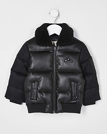 Mini boys black padded bomber jacket