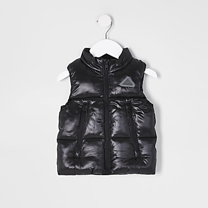 Mini boys black padded gilet