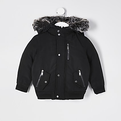 Mini Boys black padded hooded bomber