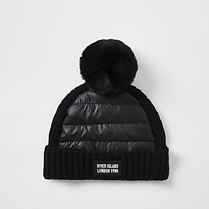 Mini boys black padded pom pom beanie hat