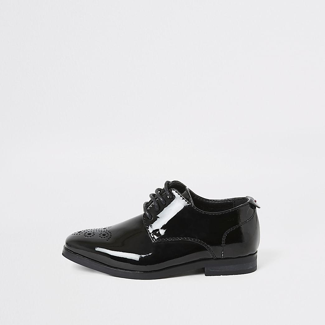 Mini - Zwarte lakleren schoenen met puntteen voor jongens