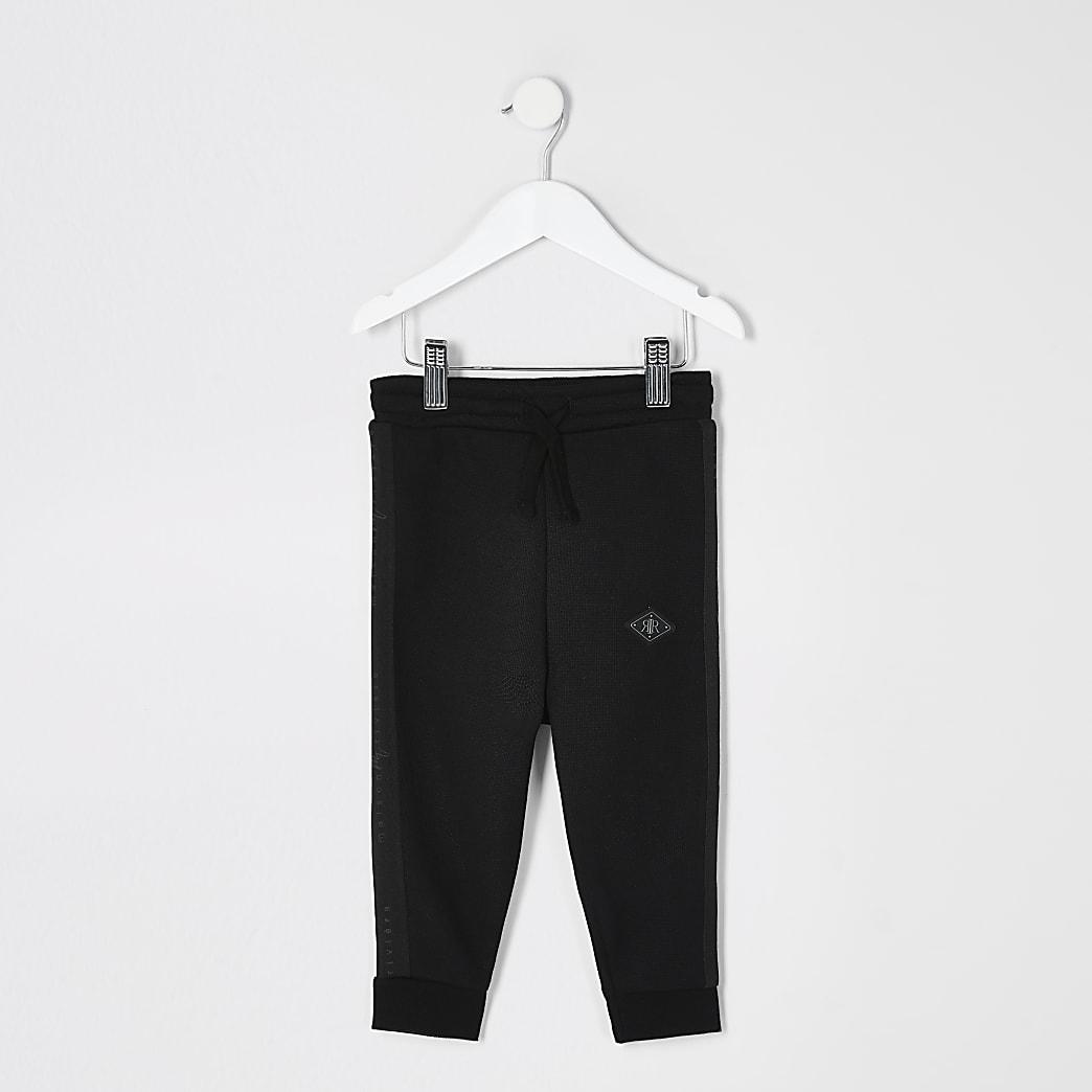 Maison Riviera - Zwarte joggingbroek met piqué bies voor mini-jongens