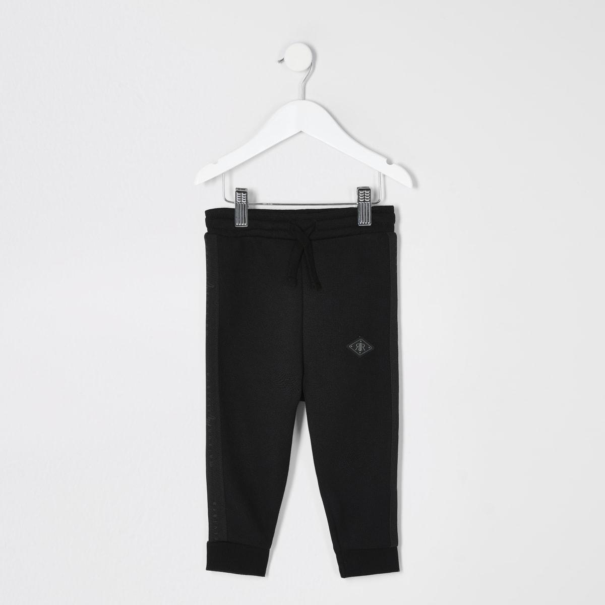Mini boys black pique Maison Riviera joggers