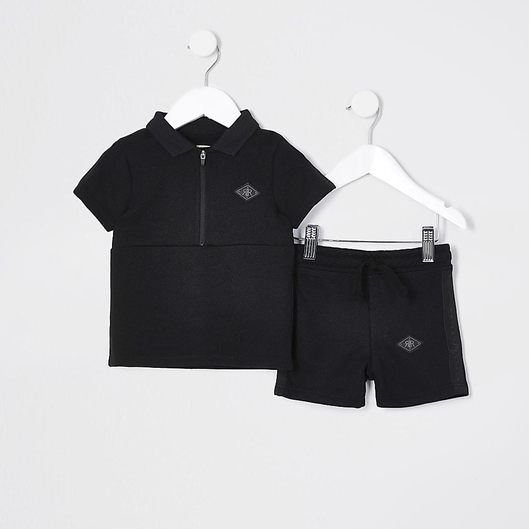 Mini Boys black pique polo short outfit