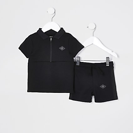 Mini Boys black pique polo short set