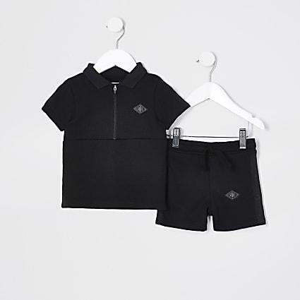 Mini Boys black pique polo short set