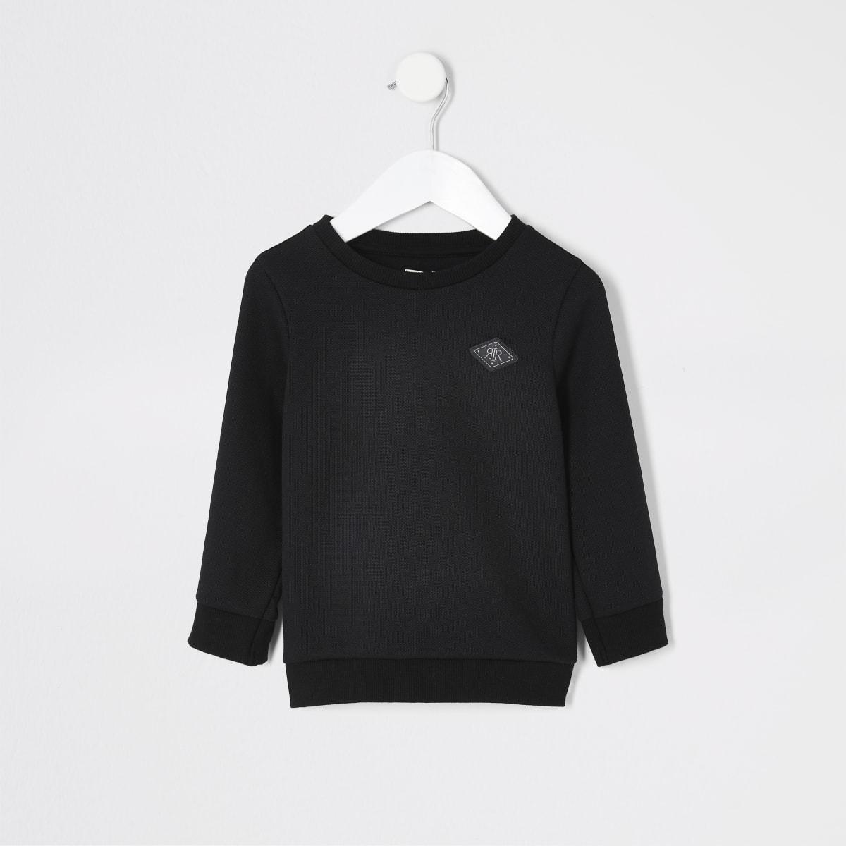 Maison Riviera - Zwarte sweater met piqué bies voor mini-jongens