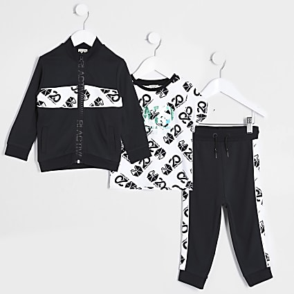 Mini boys black print 3 piece tracksuit
