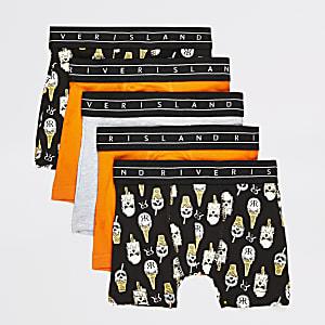 Mini - Set van 5 zwarte boxers met print voor jongens