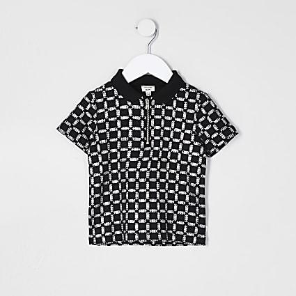 Mini boys black printed polo