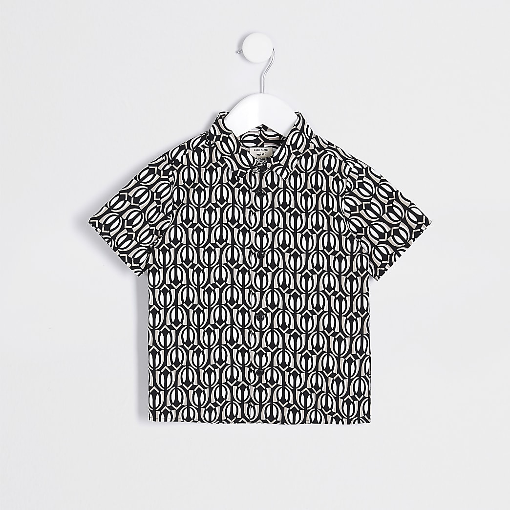 Mini boys black printed shirt
