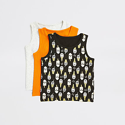 Mini boys black printed vests 3 pack