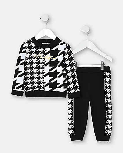 Mini boys black Prolific dogtooth outfit