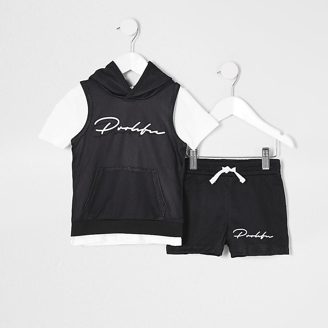 Mini boys black Prolific hoody 3 piece outfit