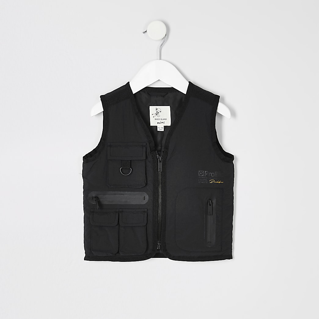 Mini boys black Prolific utility gilet