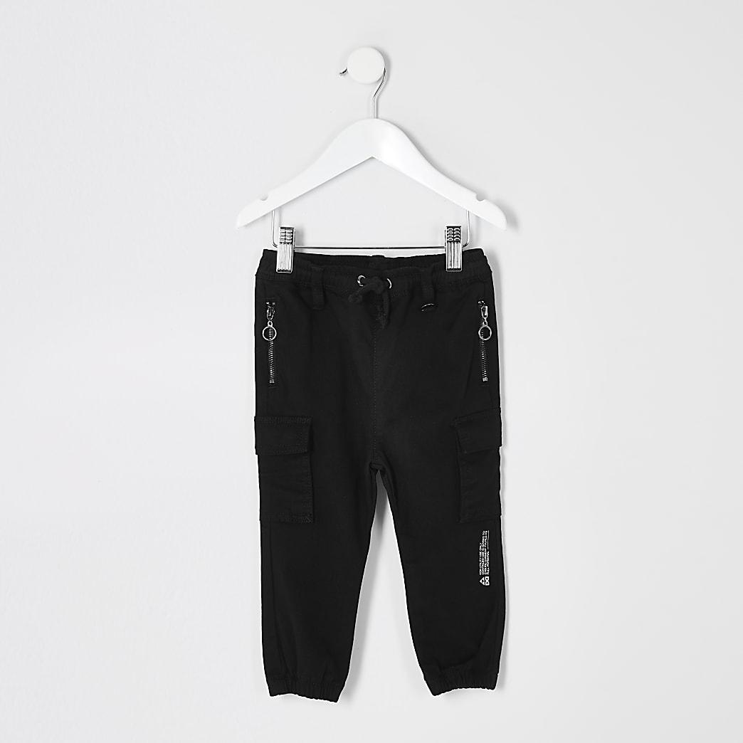 Mini - Prolific - Zwarte utility joggingbroek voor jongens