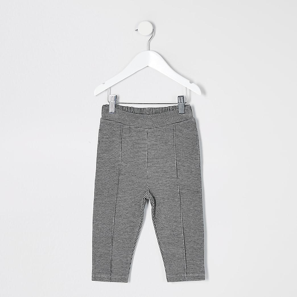 Mini boys black puptooth check trousers