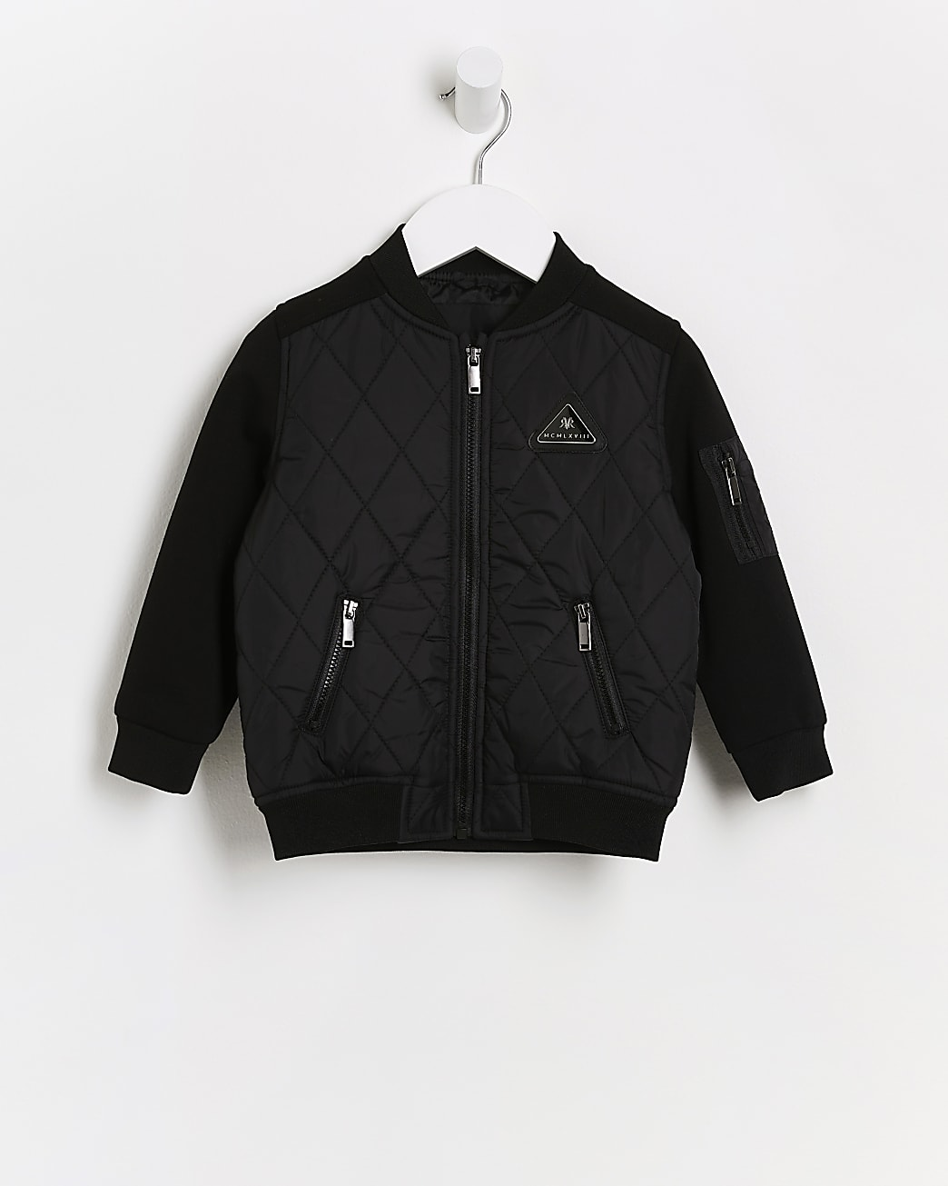 Mini boys black quilted bomber jacket