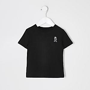 Mini -Zwart T-shirt met R kroon-logo geborduurd op de borst voor jongens