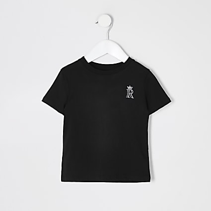 Mini boys black R crown embroidered T-shirt